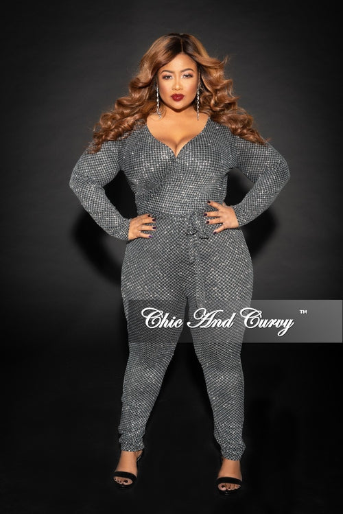 Final Sale Plus Size Faux Wrap Jumpsuit with Attached Tie in Silver Glitter and Black