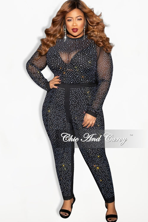 Final Sale Plus Size Black Mesh Jumpsuit with Iridescent Crystals