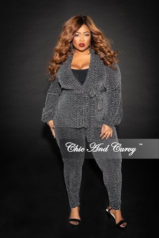 Final Sale Plus Size Jacquard  2-Piece Lounge Set with Tie in Gold and Black Glitter (Seasonal)