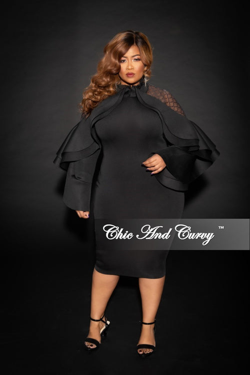 Final Sale Plus Size BodyCon with Mesh Lace Cold Shoulder Ruffle Dress in Black Scuba Fabric