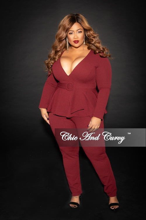 New Plus Size Faux Wrap Peplum Jumpsuit with attached Belt and back Zipper in Burgundy