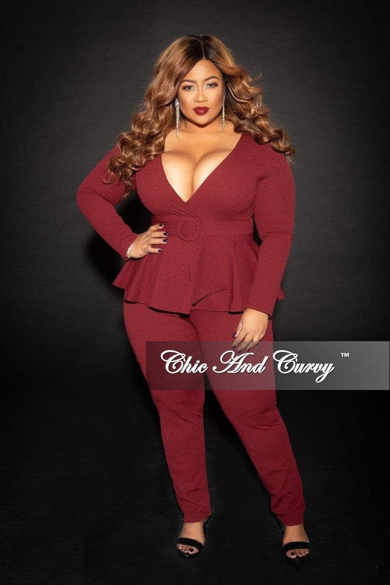 dfe31fa7f3c6 New Plus Size Faux Wrap Peplum Jumpsuit with attached Belt and back Zi –  Chic And Curvy