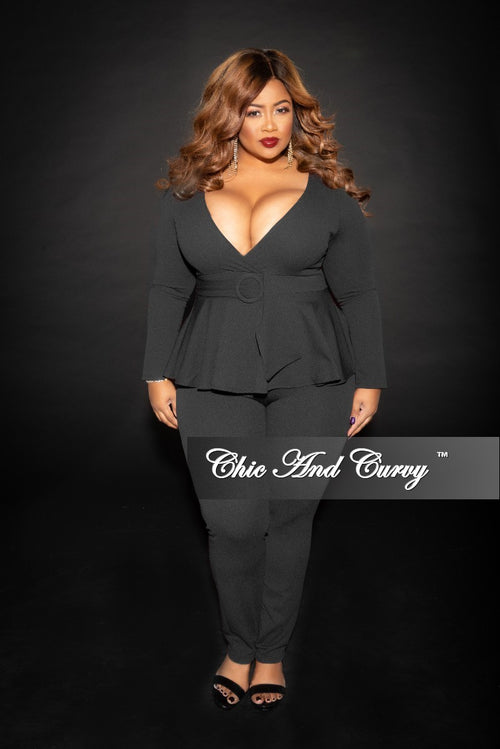 New Plus Size Faux Wrap Peplum Jumpsuit with attached Belt and back Zipper in Black