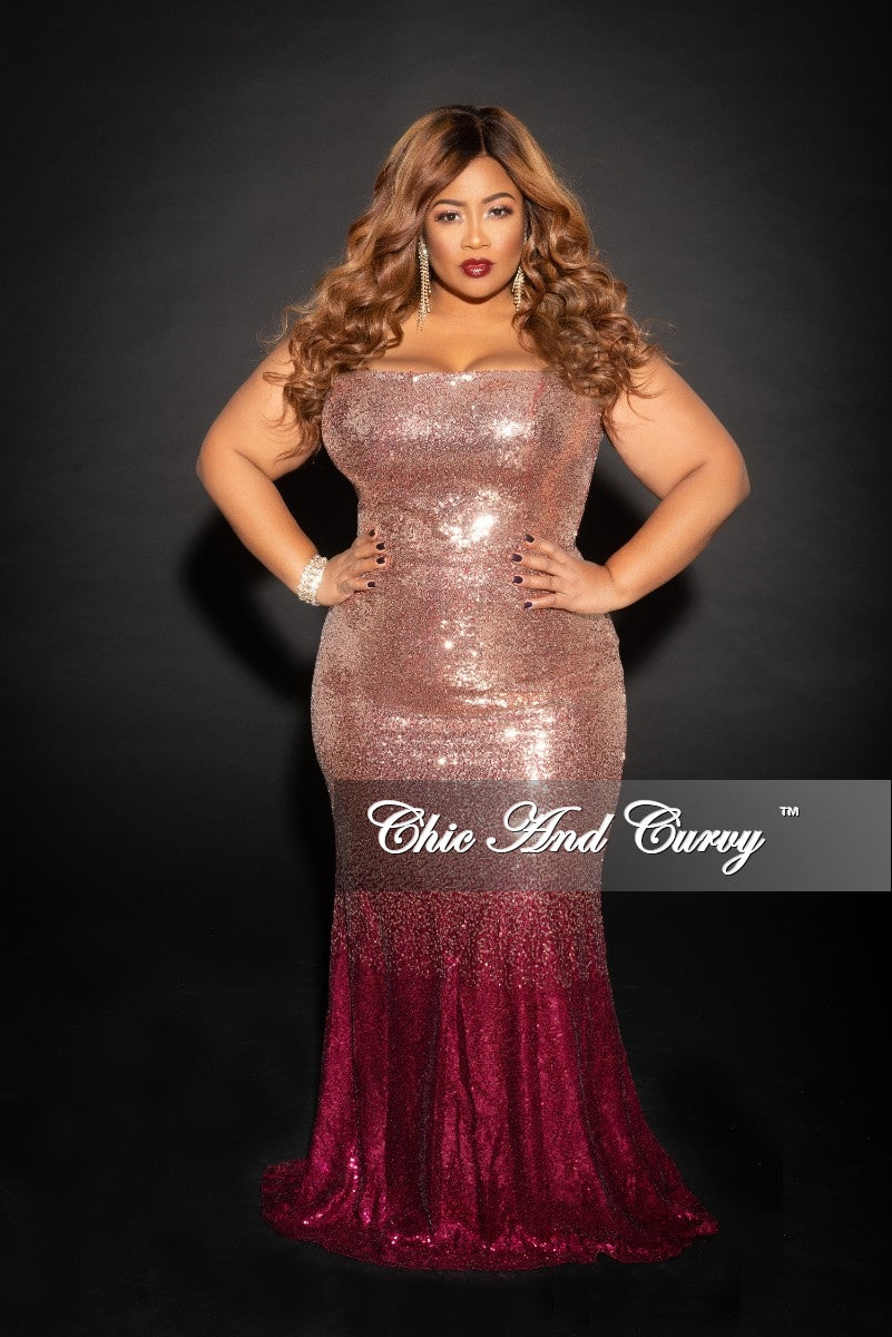 Final Sale Plus Size Sleeveless Sequin Gown In Gold And Burgundy