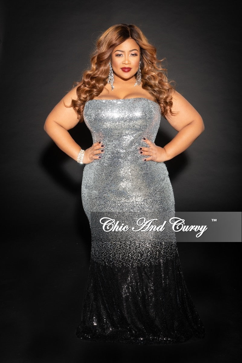 26c5a10c143 Final Sale Plus Size Sleeveless Sequin Gown in Silver and Black – Chic And  Curvy