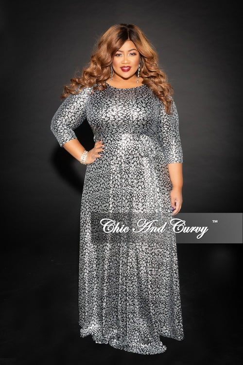 Final Sale Plus Size Gown with 3/4 Sleeves and Tie in Silver and Black (Seasonal)