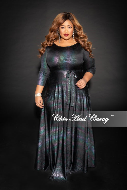 Final Sale Size Gown with 3/4 Sleeves and Tie in Metallic Multi Color