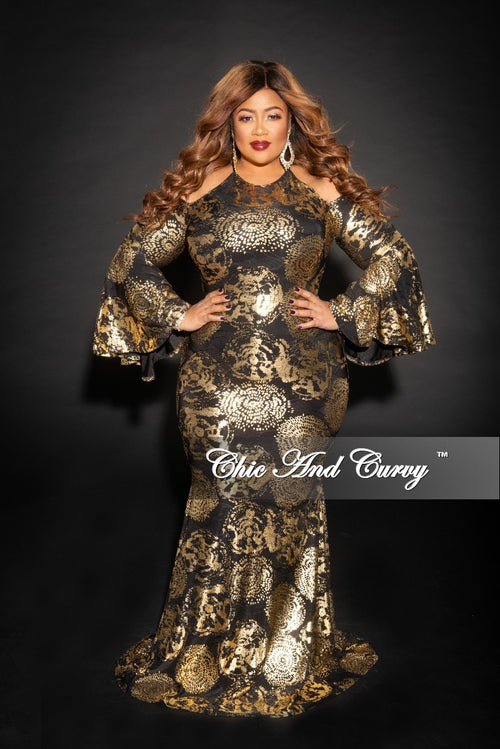 Final Sale Plus Size Cold Shoulder Bell Sleeves Gown in Gold and Black Print