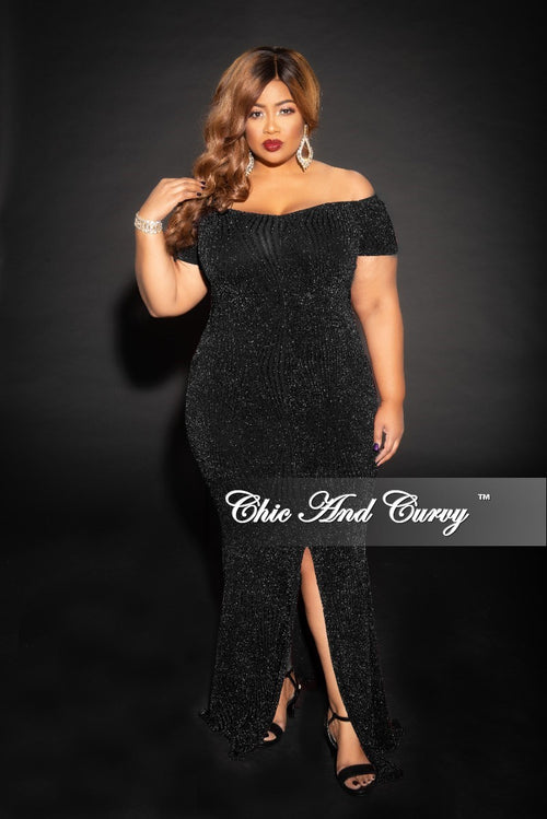 Final Sale Plus Size Shimmer Off the Shoulder Long Dress with Front Slit and Back Gold Zipper in Black