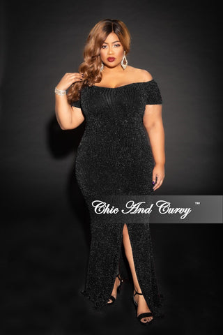 065a668437c6e Final Sale Plus Size Shimmer Off the Shoulder Long Dress with Front Slit  and Back Gold Zipper in Black