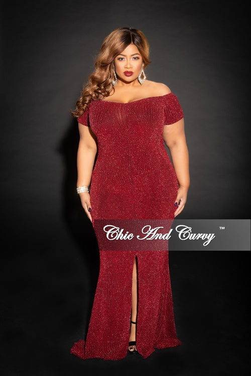 Final Sale Plus Size Shimmer Off the Shoulder Long Dress with Front Slit and Back Gold Zipper in Burgundy