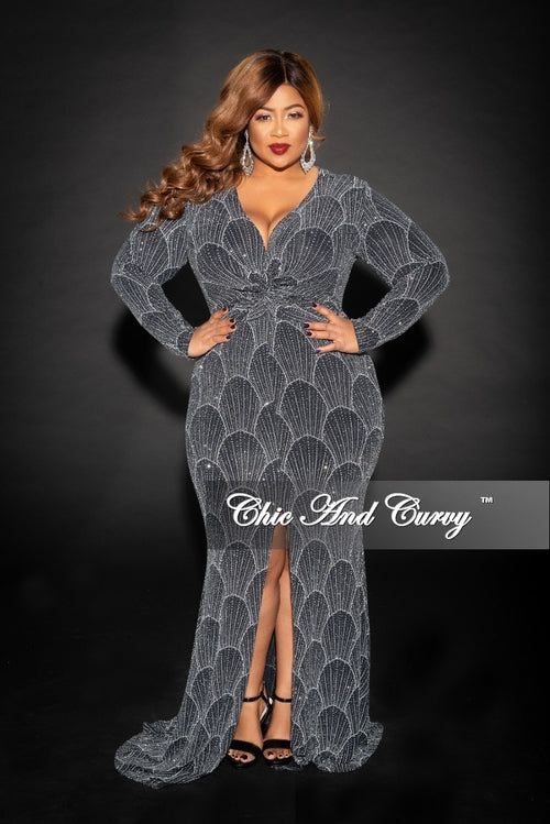 Final Sale Plus Size Glitter Long Sleeve Deep V Gown with Front Slit in Black White and Silver
