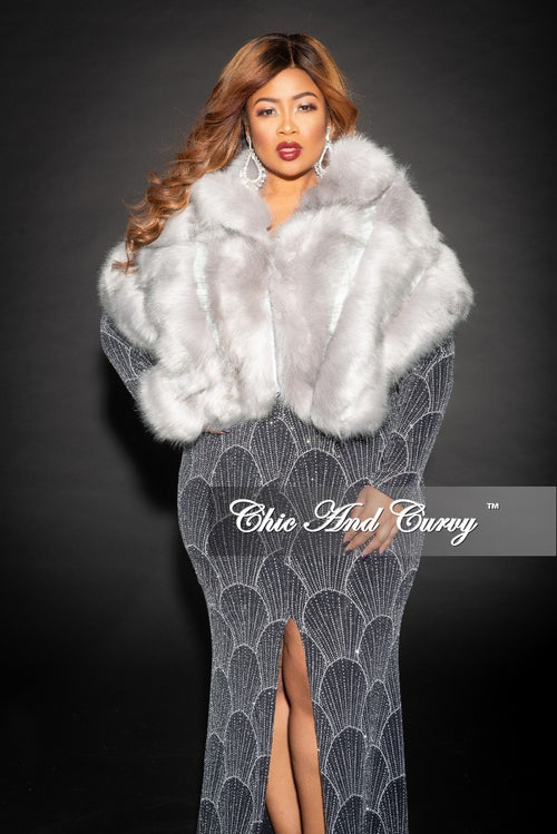 Final Sale Faux Fur Layered Stole in Grey