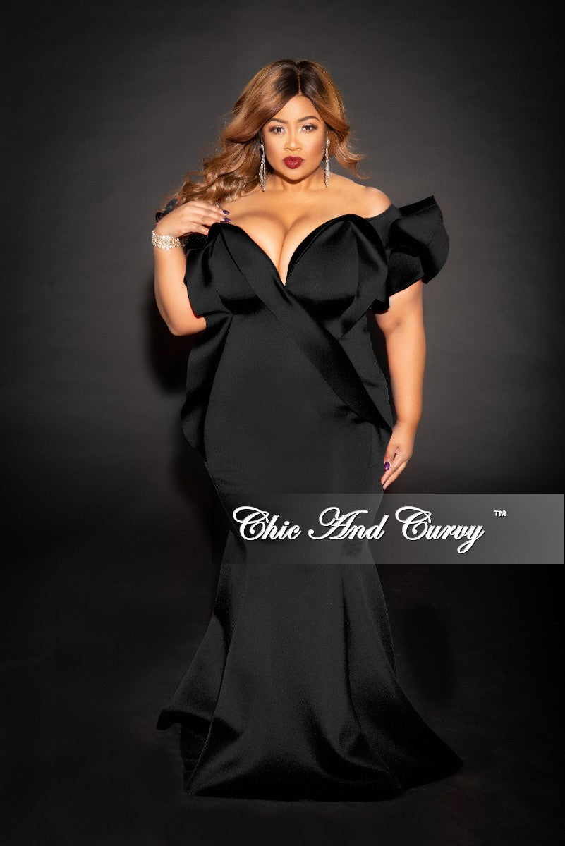 Final Sale Plus Size Off the Shoulder Ruffle Mermaid Gown in Black Scuba (Seasonal)