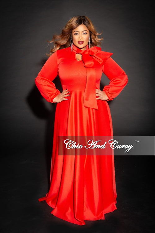 New Plus Size Long Sleeve Gown with Puffy Sleeves and Neck Tie in Red