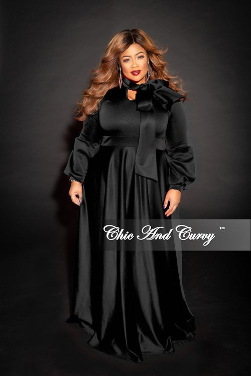 New Plus Size Long Sleeve Gown with Puffy Sleeves and Neck Tie in Black