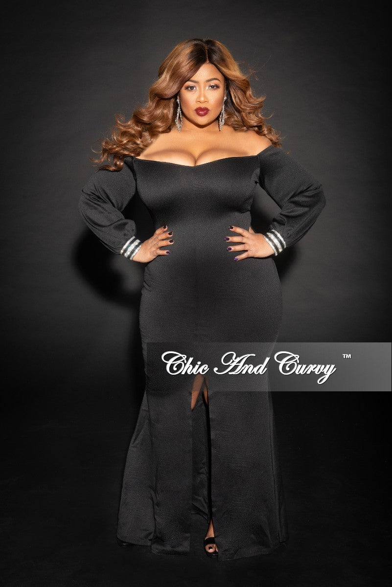 Final Sale Plus Size Off the Shoulder Long Sleeve Gown with Rhinestone Cuff and Front Slit in Black