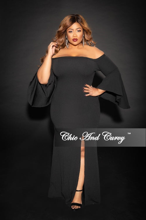 Final Sale Plus Size Off the Shoulder Bell Sleeves Long Dress with Front Slit in Black