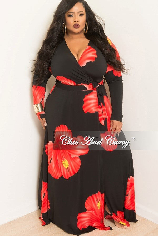 New Plus Size Long Wrap Dress with Tie in Black and Red Floral ...