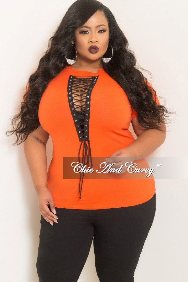 45fb921a35678 35% Off Sale - Final Sale Plus Size Lace-Up T-Shirt in Orange – Chic And  Curvy