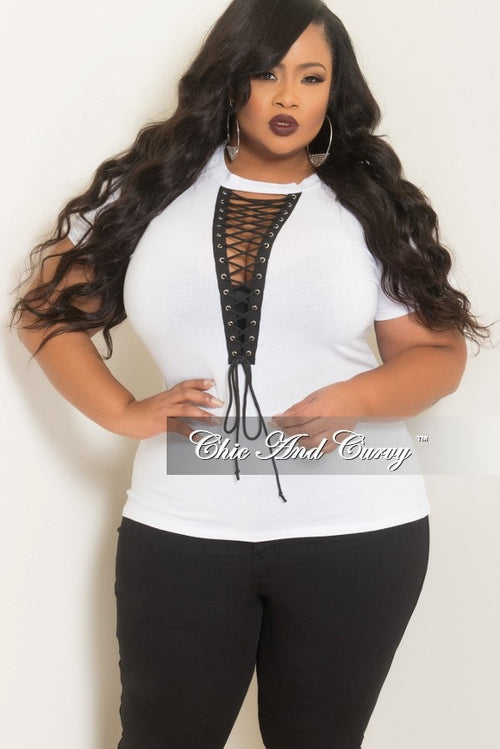 Final Sale Plus Size Lace-Up T-Shirt in White and Black