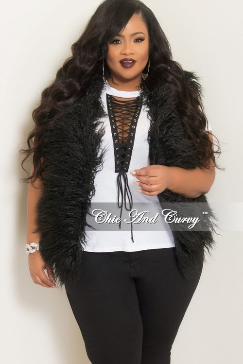 Final Sale Plus Size Faux Fur Open Vest in Black
