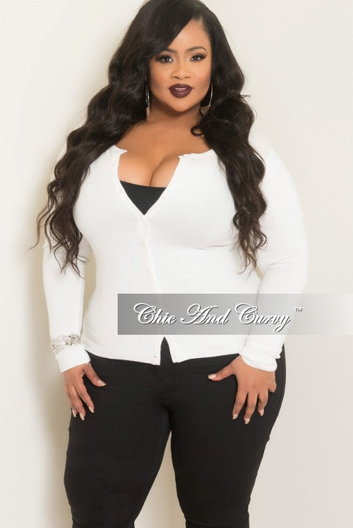35% Off Sale - Final Sale  Plus Size Cardigan w/ Scoop Neck and Button Front in Off White