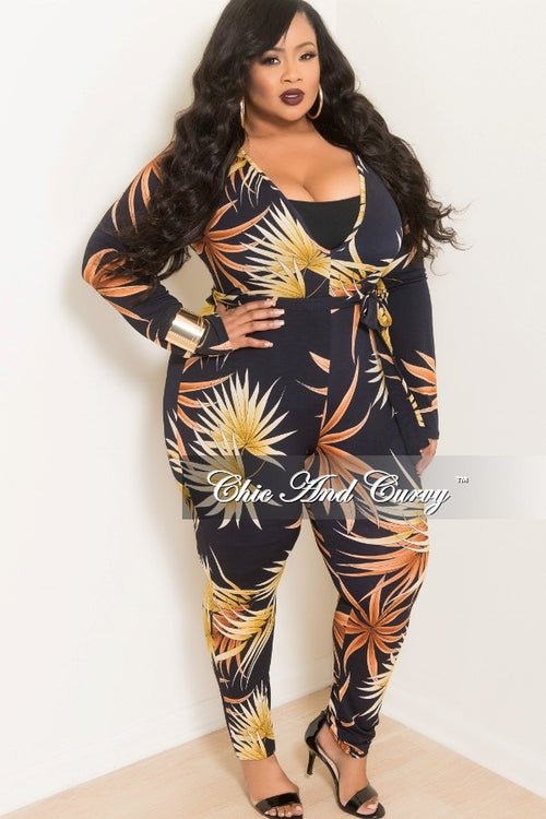Final Sale Plus Size Long Sleeve V-Neck Jumpsuit W/ Attached Tie in Navy, Brown and Yellow