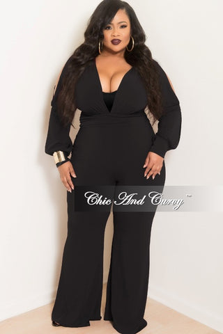 2eef7813bd6d2 Final Sale Plus Size Long Sleeve Deep V-Neck Jumpsuit with Slit Sleeves and  Wide Legs in Black