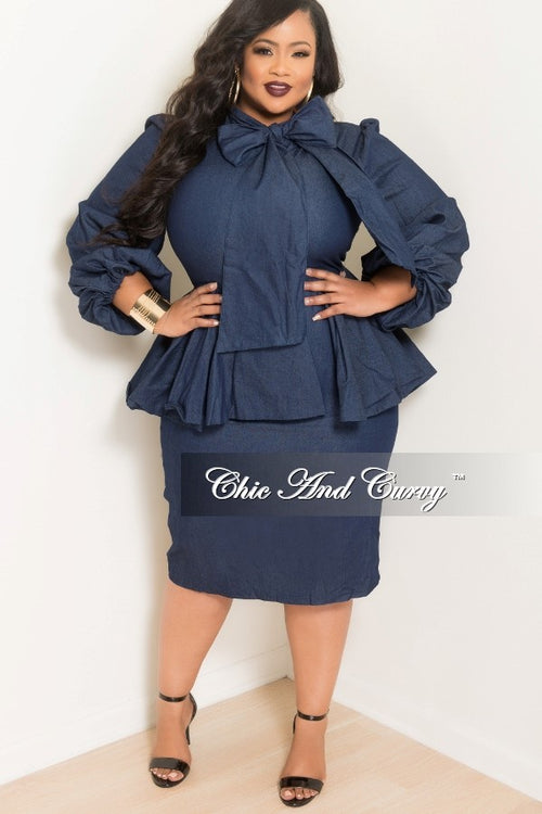 Final Sale Plus Size BodyCon Peplum Dress with Neck Tie in Denim