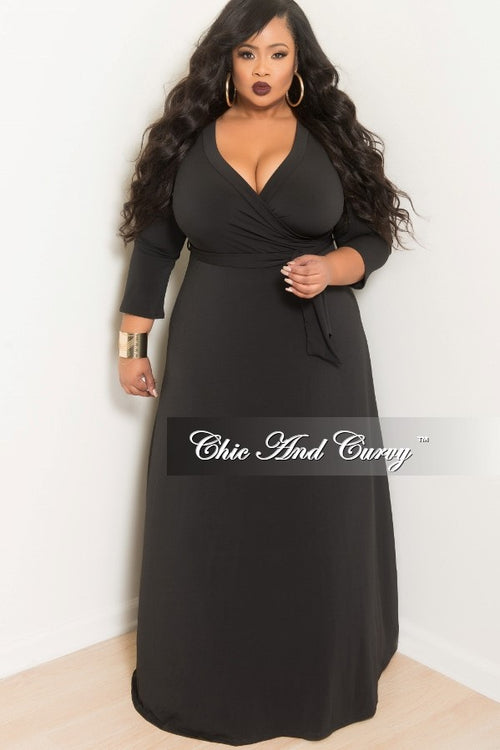New Plus Size Deep V-Neck Faux Dress with 3/4 Sleeves in Black