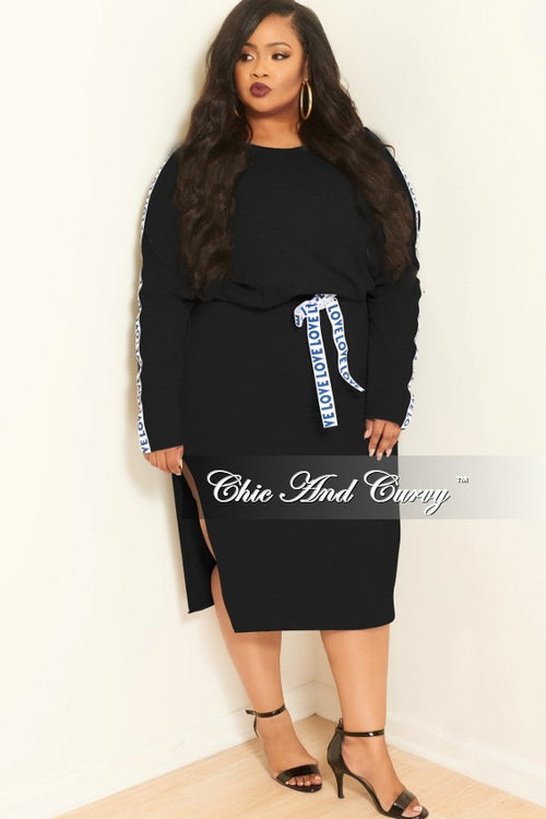 New Plus Size 2-Piece Long Sleeve Top and Skirt Set with Love Trim in Black, White and Navy