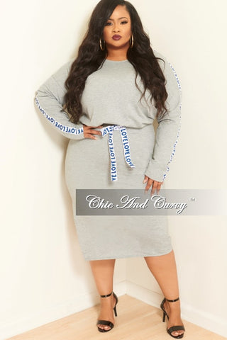 b462a8eca8b2 Final Sale Plus Size 2-Piece Long Sleeve Top and Skirt Set with Love Trim  in Grey