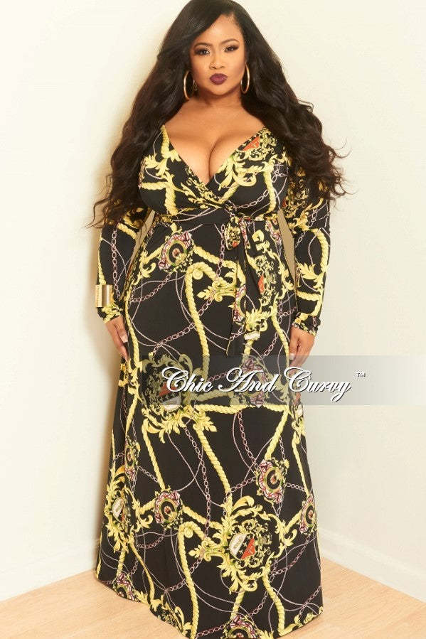 New Plus Size Deep V-Neck Faux Wrap Dress with Long Sleeves in Black, Yellow, Red and Green