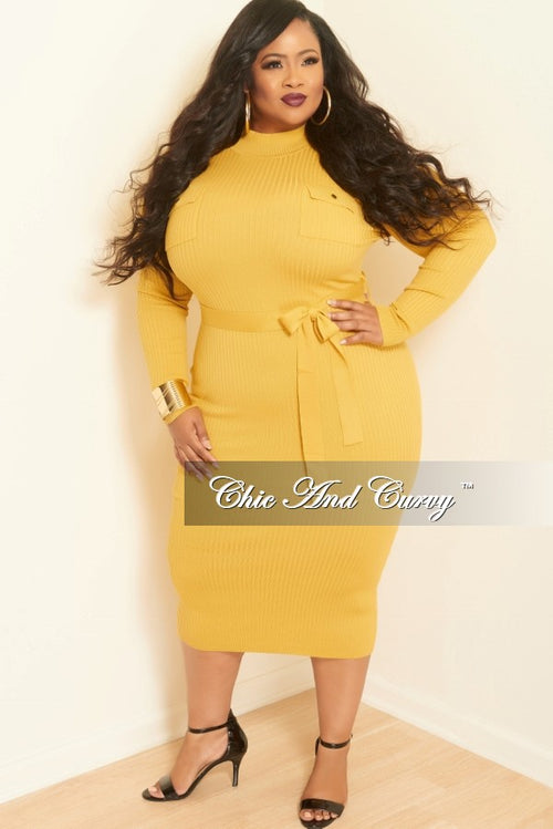 Final Sale Plus Size Ribbed Knit Dress with Front Pockets in Mustard