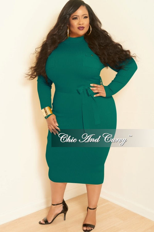 Final Sale Plus Size Ribbed Knit Dress with Front Pockets in Green