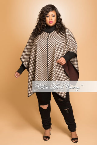 New Plus Size Shawl in Brown Houndstooth