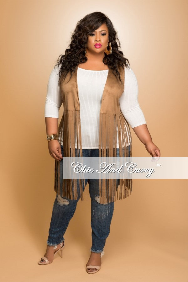 New Plus Size Faux Suede Fringe Vest in Camel