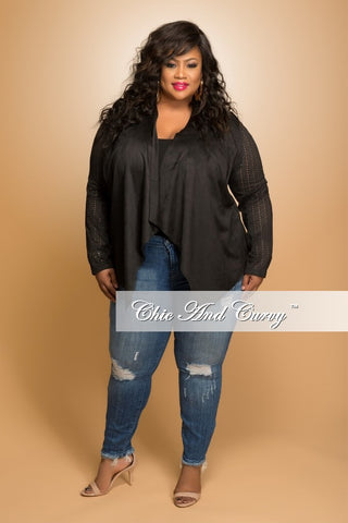 New Plus Size Open Front Jacket in Black