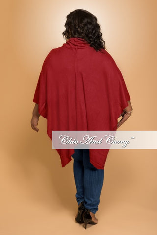 New Plus Size Turtle Neck Poncho in Burgundy
