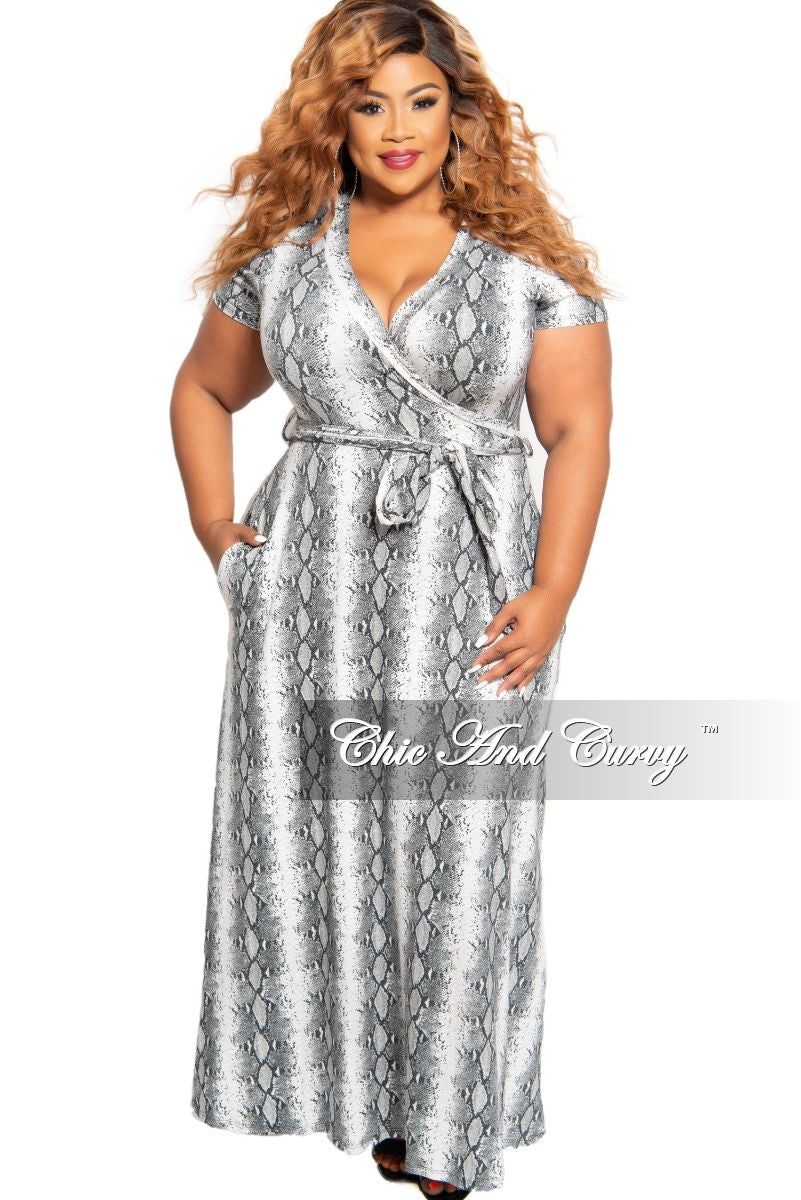 New Plus Size Short Sleeve Faux Wrap Pocket Maxi with Attached Tie in Grey and White Snake Print