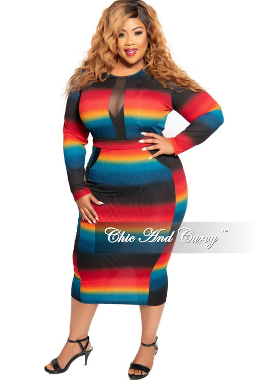 Final Sale Plus Size BodyCon Dress with Mesh Inserts in Ombre Sunset Print