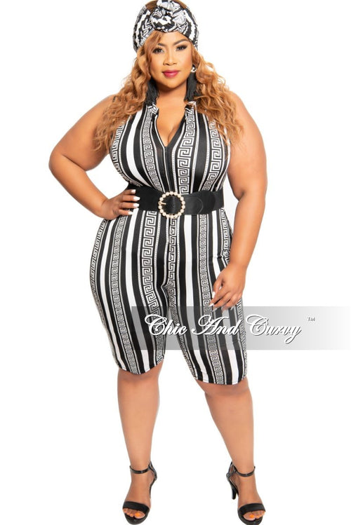 Final Sale Plus Size Sleeveless Zip-Up Romper with Matching Head Wrap in Black and White Stripe Maze Print