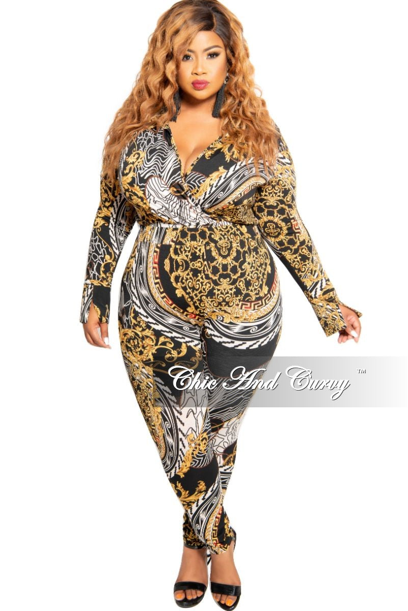 New Plus Size 2-Piece Collared Faux Wrap Bodysuit and Pants Set in Black Red White and Gold Design Print