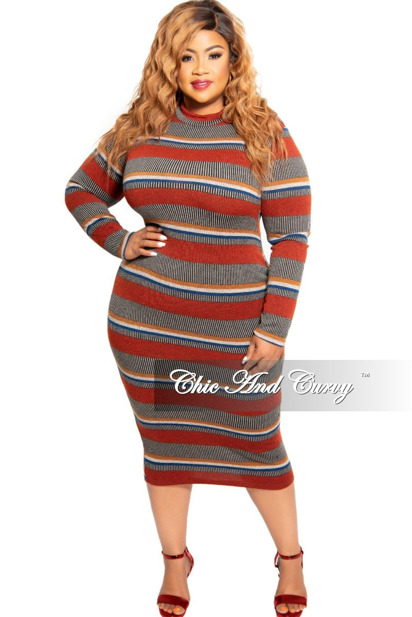 New Plus Size Ribbed Knit BodyCon Dress Multi-Color Print