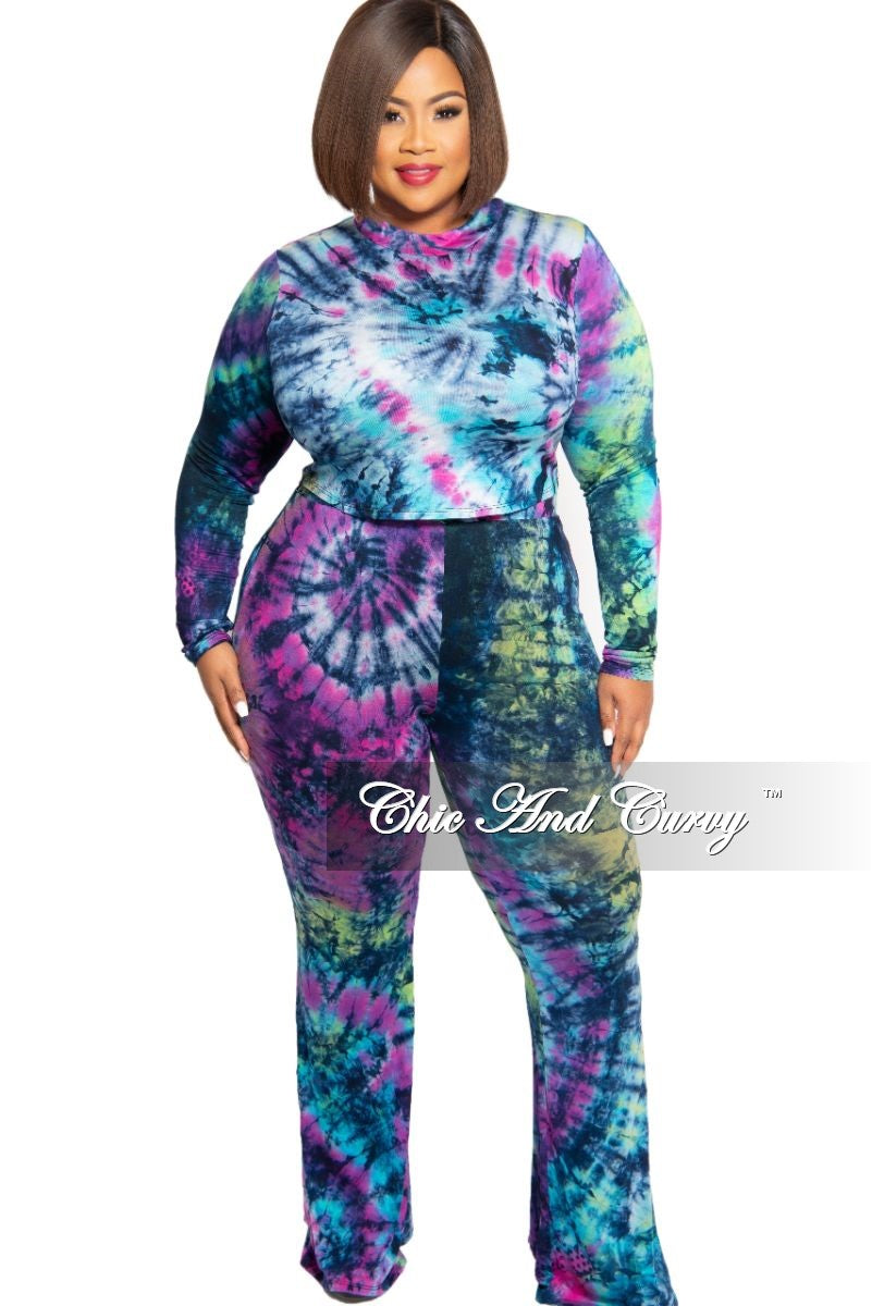New Plus Size Crop Top and Palazzo Pants Set in Purple Multi Color Tie Dye Print