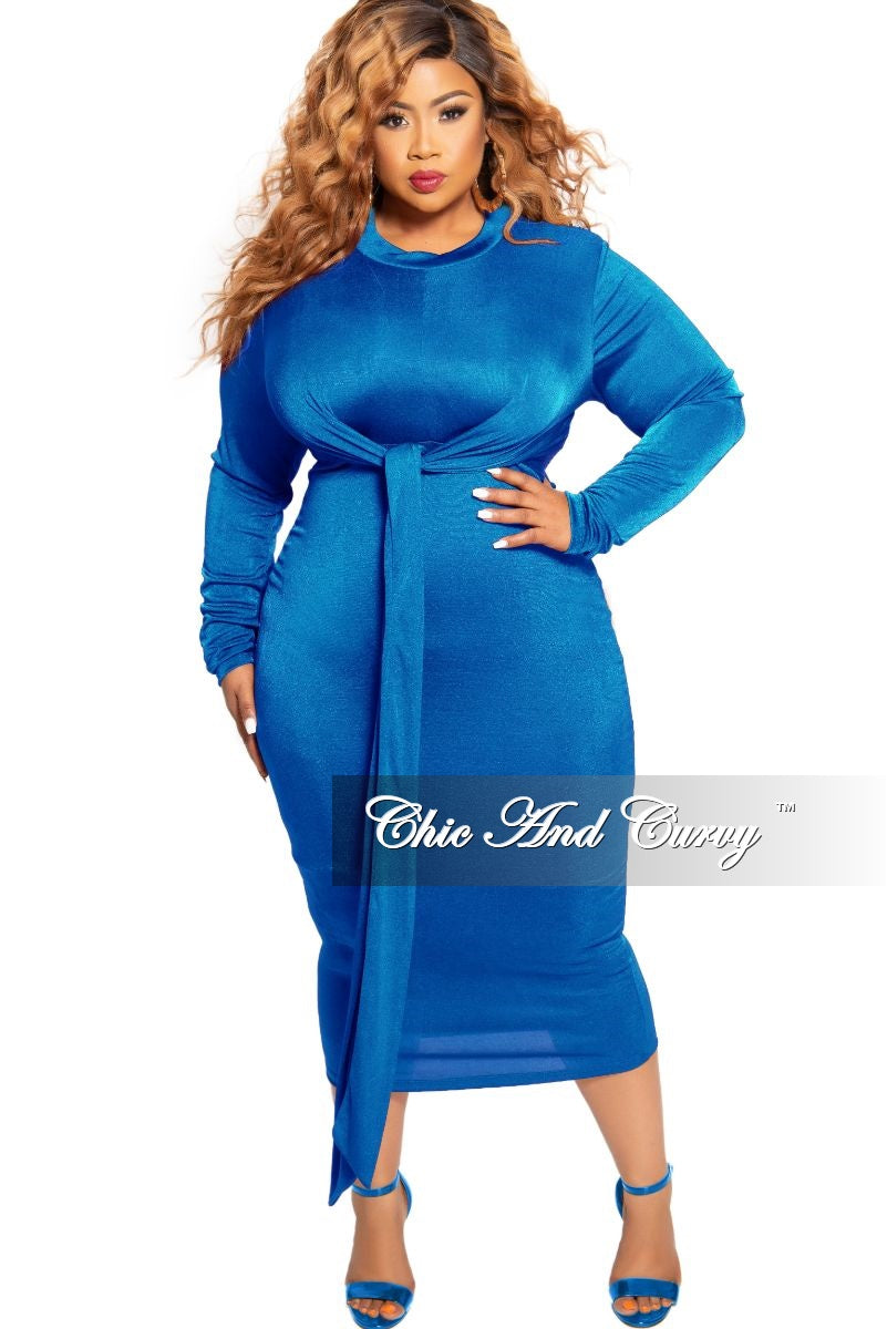 New Plus Size Silky BodyCon Tie Dress in Royal Blue