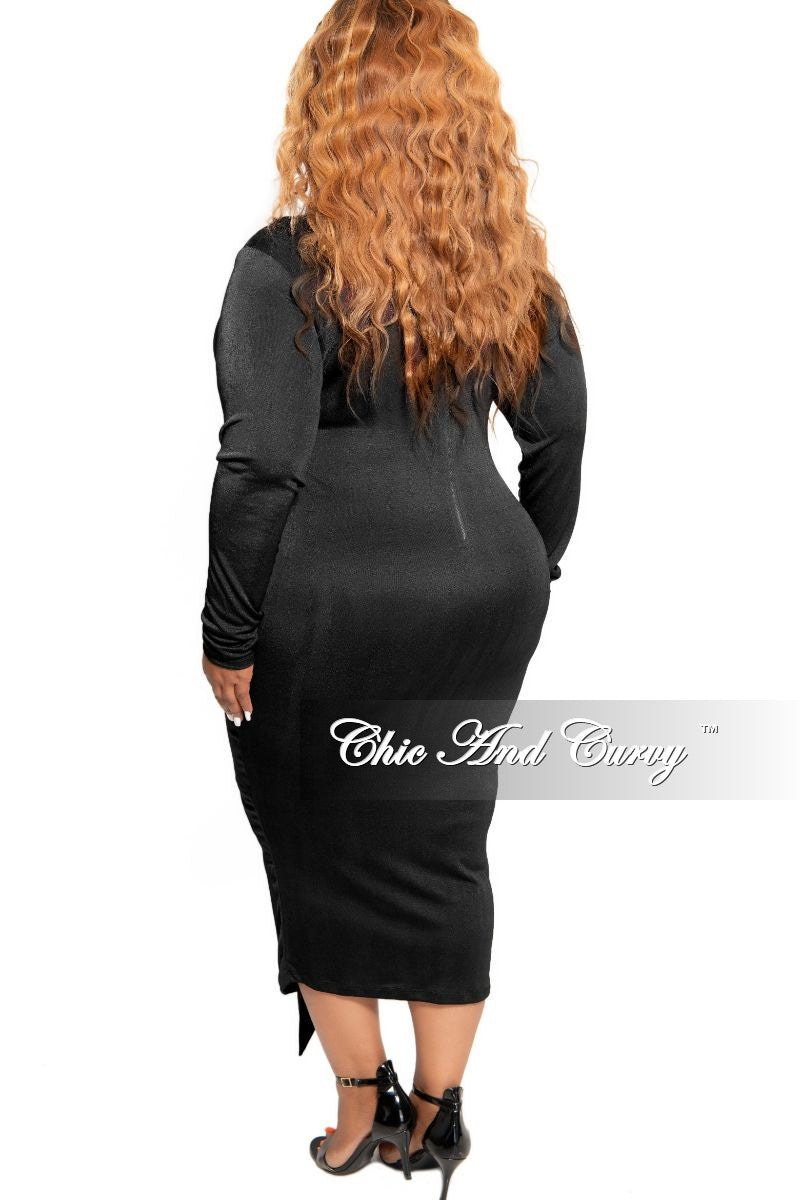 New Plus Size Silky BodyCon Tie Dress in Black