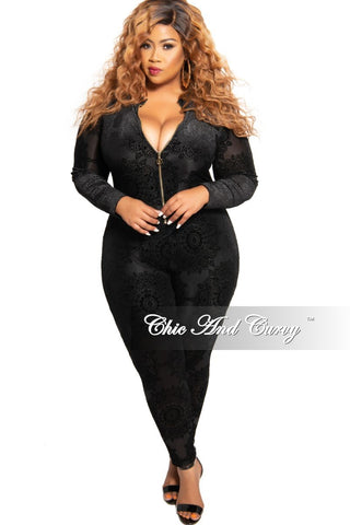 New Plus Size Jumpsuit with Front Ruffle Overlay in Black