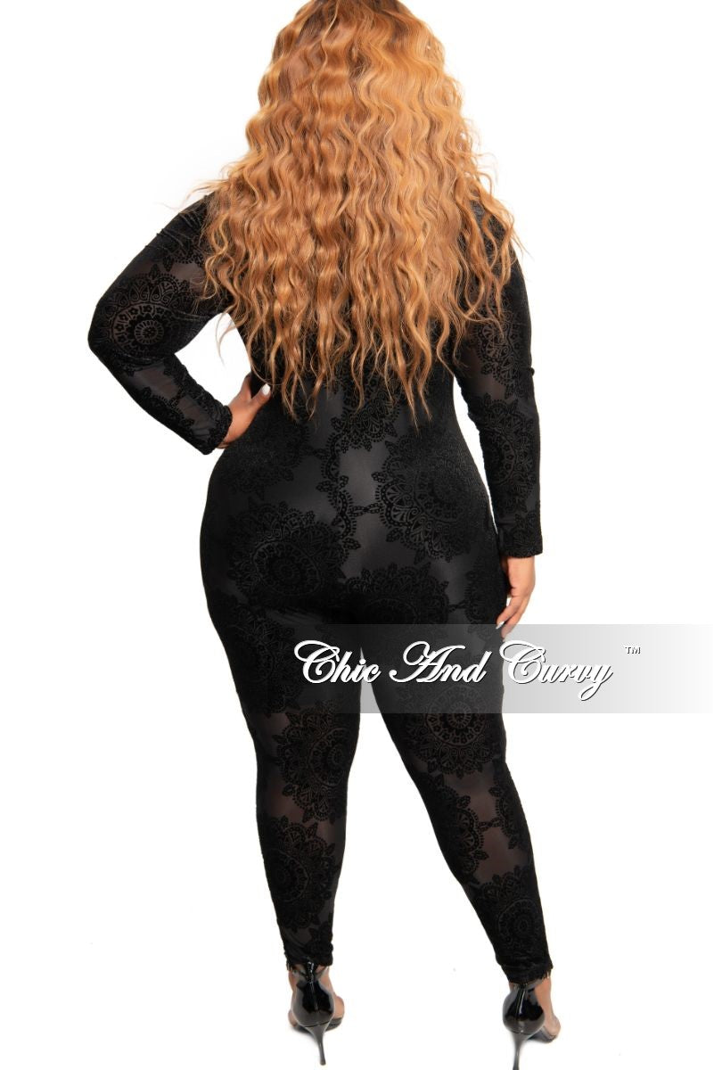 Final Sale Plus Size Sheer Velvet Zip-Up Jumpsuit in Black